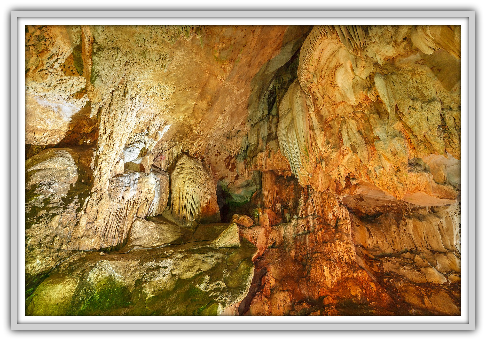 Stalactite rock formations in Lawa Cave. Kanchanaburi province, Thailand.